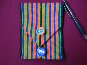 Inkle woven pouch with Button closure