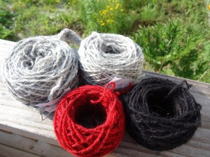 Finished yarn for mittens, black, red and grey