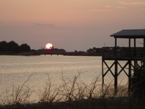 The beautiful sunset I shared while I worked on my mitten in Cedar Key, FL.
