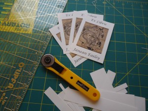 Print out plates on card-stock and cut out using rotary cutter, mat and ruler