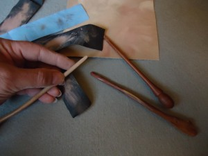 Inkle Pick-Up  weaving tools.  Sold as hair/shawl sticks.  A variety of sandpaper & elbow grease for fine tuning