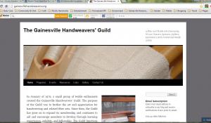 The Gainesville Handweavers Guild website from my desktop