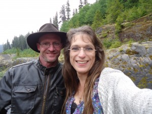 Michael and Me on Lava Canyon hiking trail.  Mt St. Helens