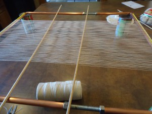 Loom warped with sticks to preserve the sheds