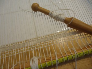 Double Half Hitches tied on each warp
