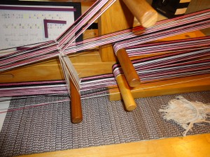 Warping the loom.  Threading diagram.