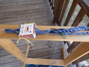 A completed warp, chained & tied for portability to the workshop