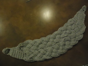 Braids tacked together, cowl completed.