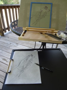Table easel hold trace, while I sketch it