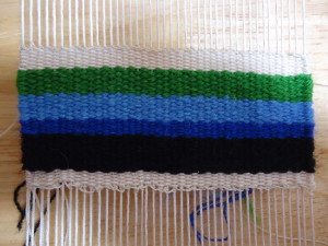 Black & dk blue - 3 strand bundle. Lt blue & green - 4 strand bundle